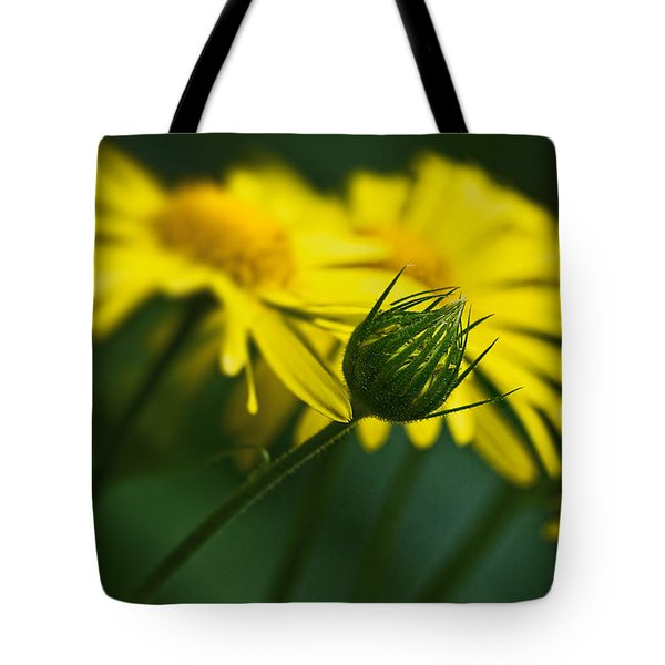 Yellow Daisy Bud Tote Bag