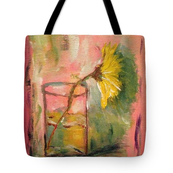 Yellow Daisy In A Glass Tote Bag