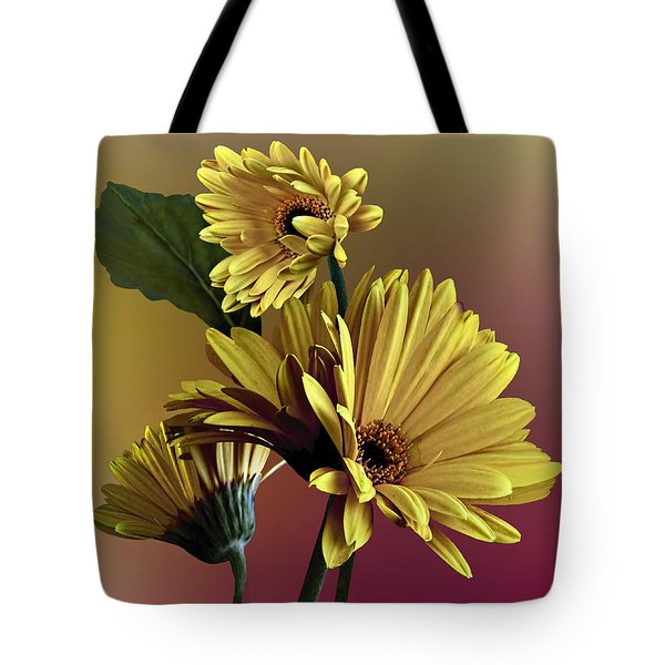 Tote Bag featuring the photograph Yellow Daisy Trio by Judy  Johnson