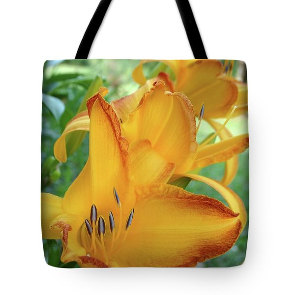 Yellow Daylily Tote Bag by Rebecca Overton