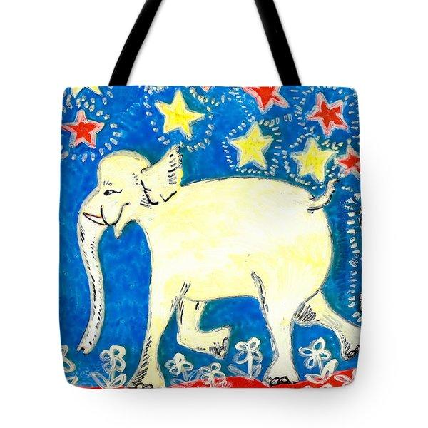Yellow Elephant Facing Left Tote Bag by Sushila Burgess