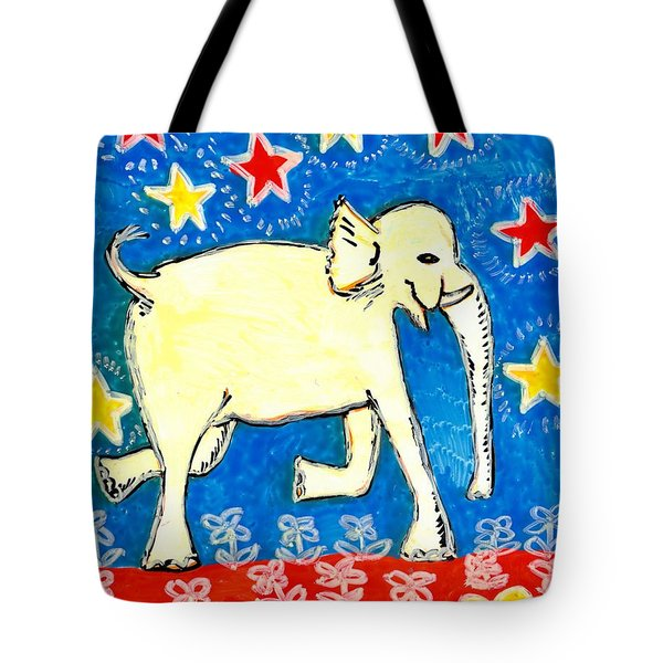 Yellow Elephant Facing Right Tote Bag by Sushila Burgess