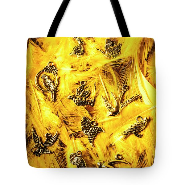Yellow Feather Flock Tote Bag