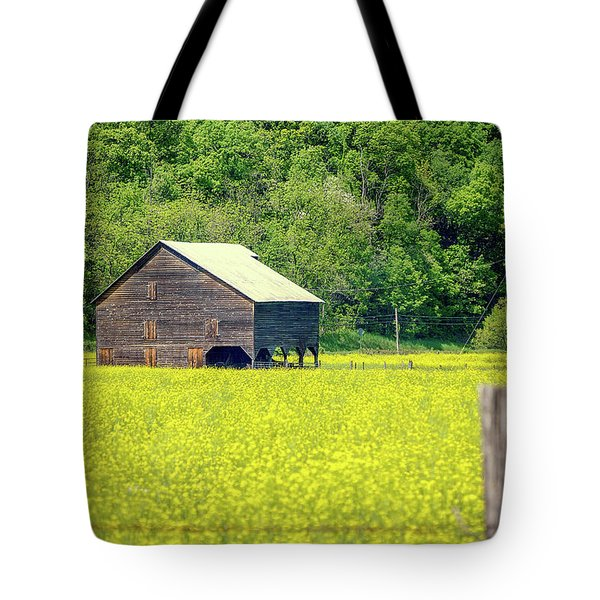 Yellow Field Rustic Shed Tote Bag