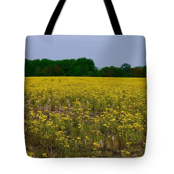 Yellow Field Tote Bag by Tim Good