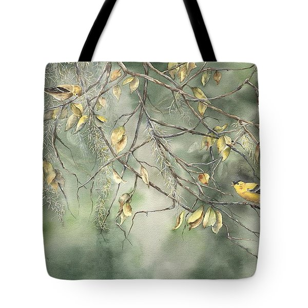 Yellow Finch Tote Bag by Mary McCullah