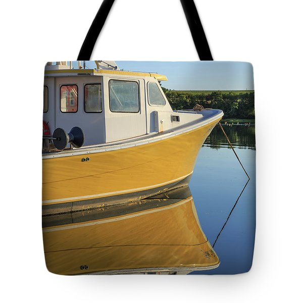 Yellow Fishing Boat Early Morning Tote Bag