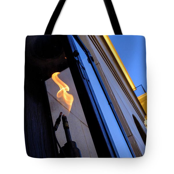 Yellow Flames And Blue Sky In Winter Park Florida Tote Bag