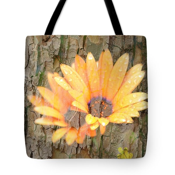 Yellow Flower Bark Tote Bag