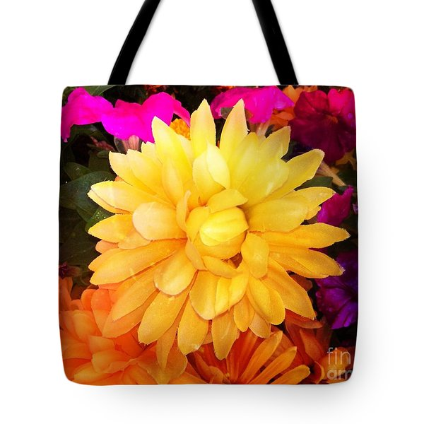 Tote Bag featuring the digital art Yellow Flower Burst  by Gayle Price Thomas