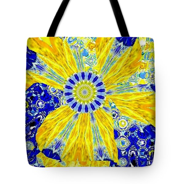 Yellow Flower On Blue Tote Bag by Navo Art
