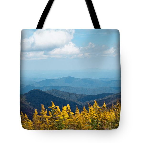 Yellow Flowers Along The Blue Ridge Mountains Tote Bag by Kim Fearheiley