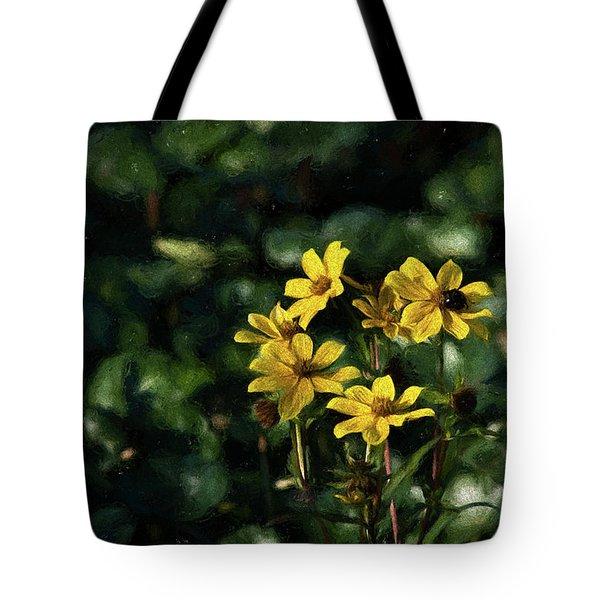 Yellow Flowers, Black Bee Tote Bag by Travis Burgess