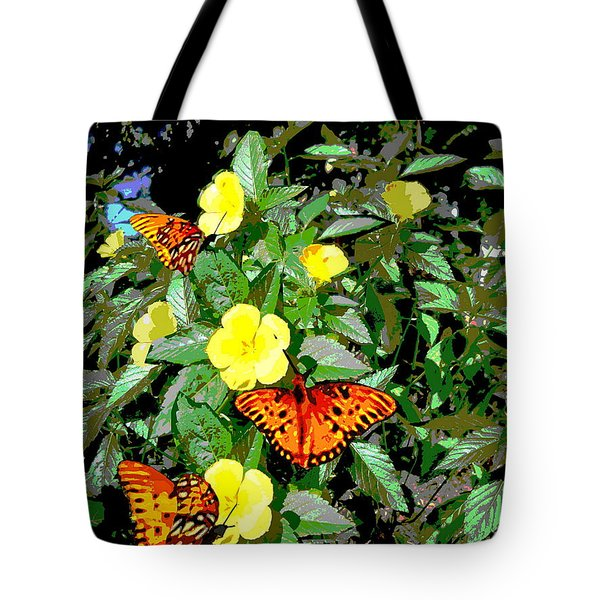Yellow Flowers Butterflies Digital Painting Gulf Coast Florida Tote Bag