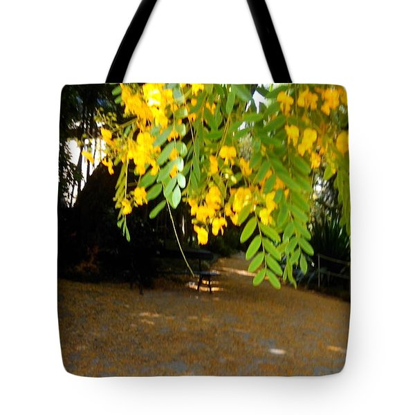 Yellow Flowers Hanging On The Tree Tote Bag