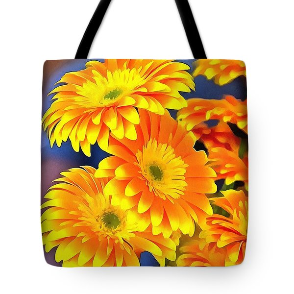 Yellow Flowers In Thick Paint Tote Bag