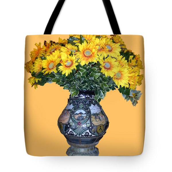 Tote Bag featuring the photograph Yellow Flowers In Vase by Francesca Mackenney