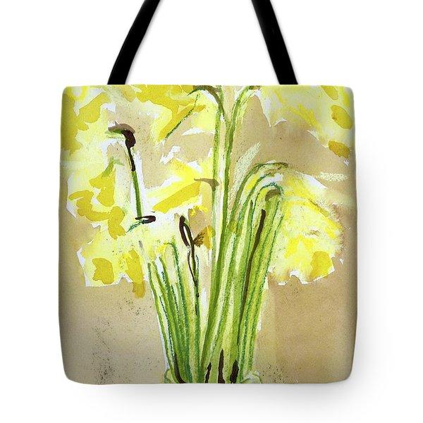 Yellow Flowers In Vase Tote Bag