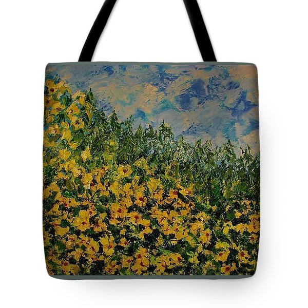 Yellow Flowers Tote Bag by Kat Griffin