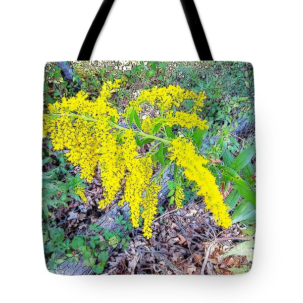 Yellow Flowers On Green Tote Bag
