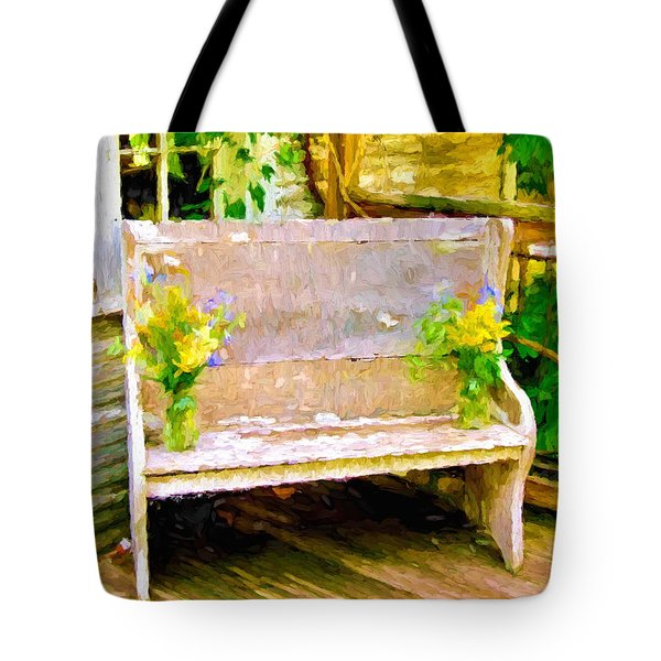 Yellow Flowers On Porch Bench Tote Bag