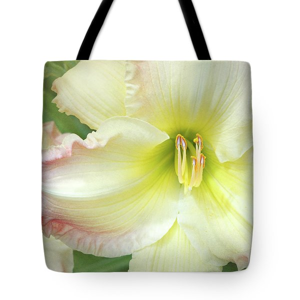 Yellow Folds And Pistils Tote Bag by Kathi Mirto