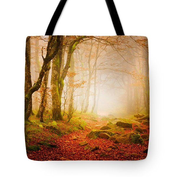 Yellow Forest Mist Tote Bag