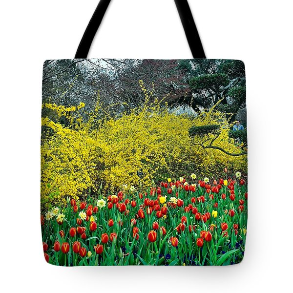 Tote Bag featuring the photograph Yellow Forsythia by Diana Mary Sharpton