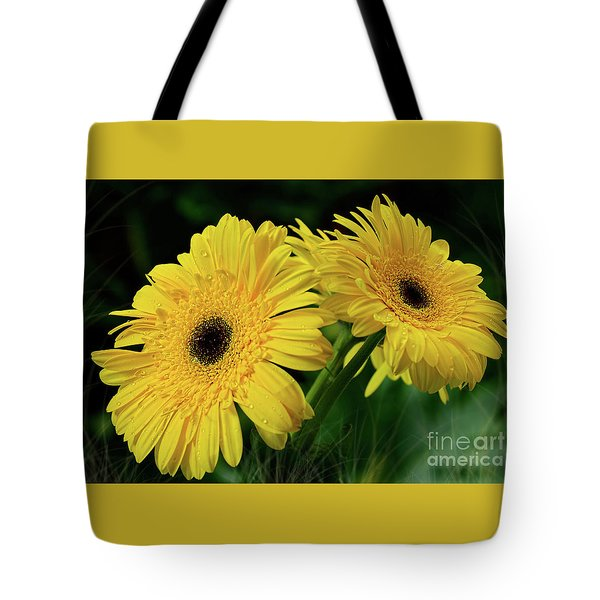 Tote Bag featuring the photograph Yellow Gerbera Daisies By Kaye Menner by Kaye Menner