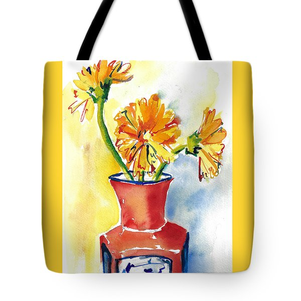 Yellow Gerbera Daisies In A Red And Blue Delft Vase Tote Bag