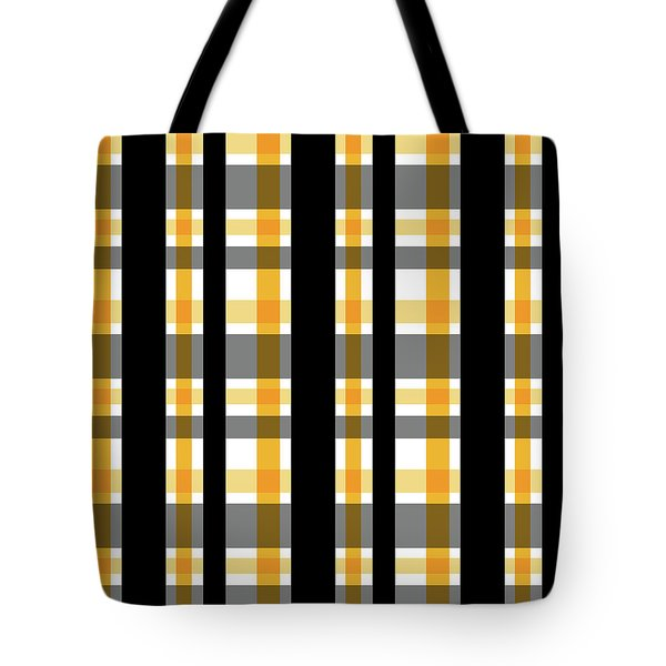 Tote Bag featuring the photograph Yellow Gold And Black Plaid Striped Pattern Vrsn 1 by Shelley Neff