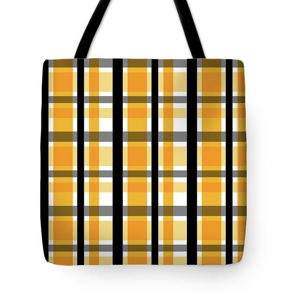 Tote Bag featuring the photograph Yellow Gold And Black Plaid Striped Pattern Vrsn 2 by Shelley Neff