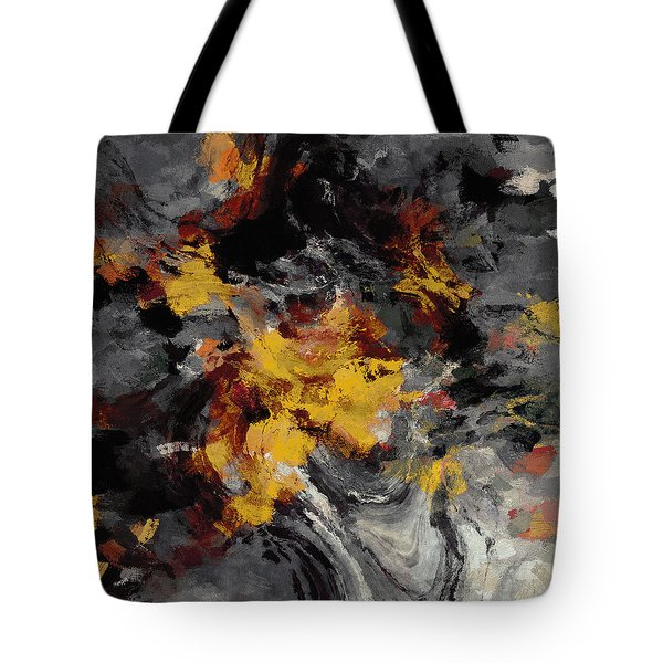 Tote Bag featuring the painting Yellow / Golden Abstract / Surrealist Landscape Painting by Ayse Deniz