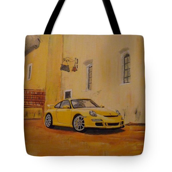 Tote Bag featuring the painting Yellow Gt3 Porsche by Richard Le Page