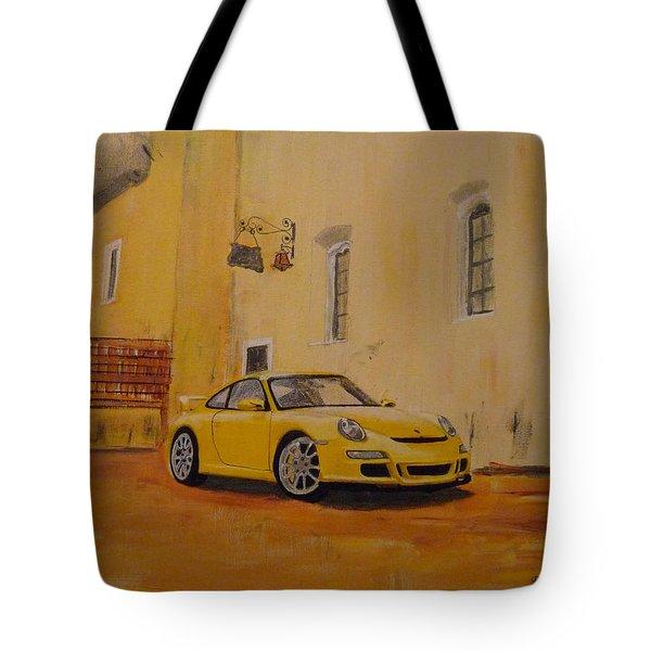 Yellow Gt3 Porsche Tote Bag