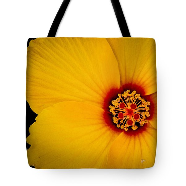 Yellow Hibiscus Squared Tote Bag by TK Goforth