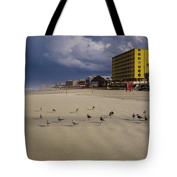 Yellow Hotel Blue Sky And Birds On Daytona Beach Florida Tote Bag