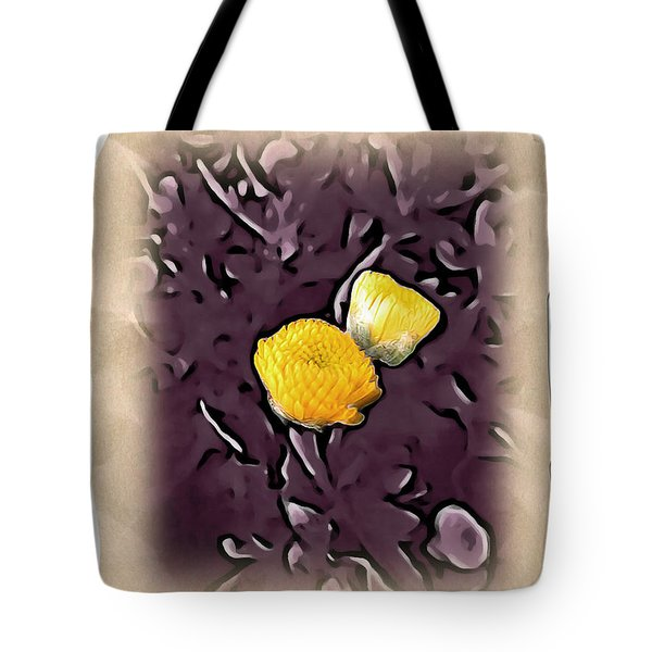 Tote Bag featuring the photograph Yellow In Purple by Joan  Minchak