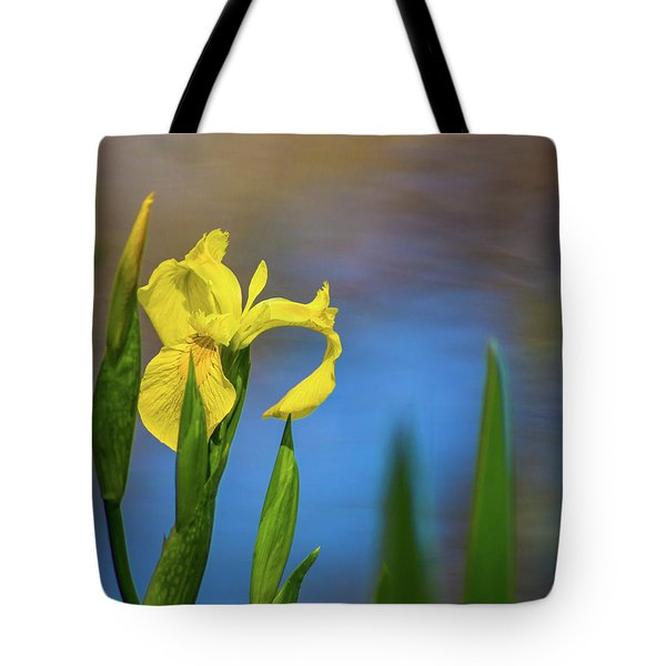 Yellow Iris By Pond Tote Bag by Lynne Jenkins