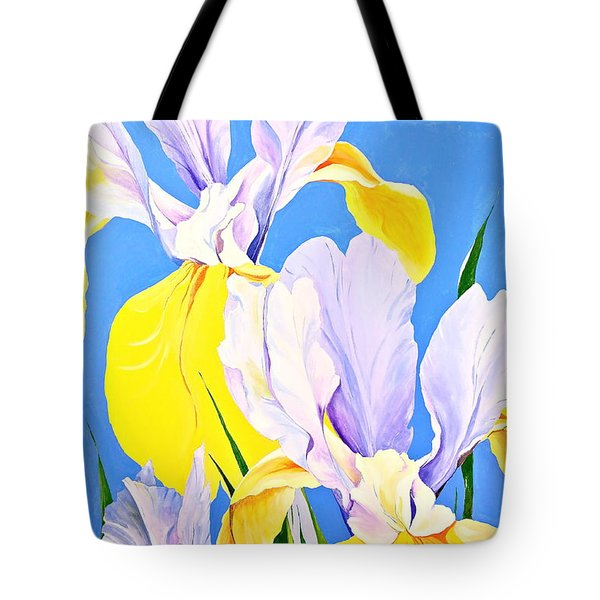 Tote Bag featuring the painting Yellow Irises-posthumously Presented Paintings Of Sachi Spohn  by Cliff Spohn