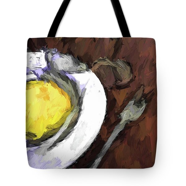 Yellow Lemon In A White Bowl With A Fork And A Wine Glass Tote Bag