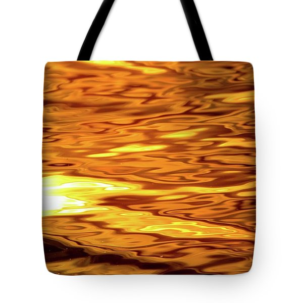 Yellow Light On Water  Tote Bag