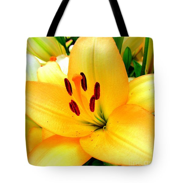 Tote Bag featuring the photograph Yellow Lilies 1 by Randall Weidner