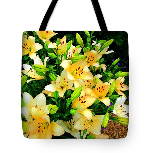 Tote Bag featuring the photograph Yellow Lilies 2 by Randall Weidner