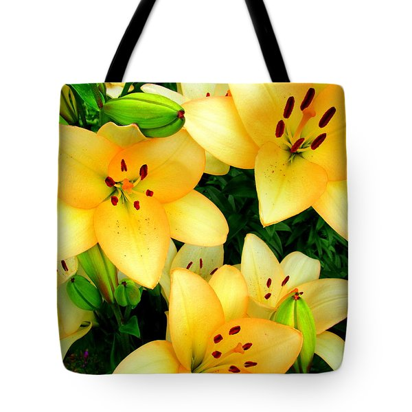 Tote Bag featuring the photograph Yellow Lilies 3 by Randall Weidner
