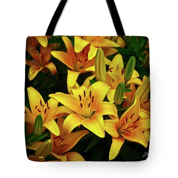 Tote Bag featuring the photograph Yellow Lilies by Joann Copeland-Paul