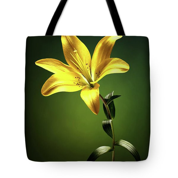 Yellow Lilly With Stem Tote Bag