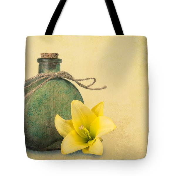 Yellow Lily And Green Bottle II Tote Bag