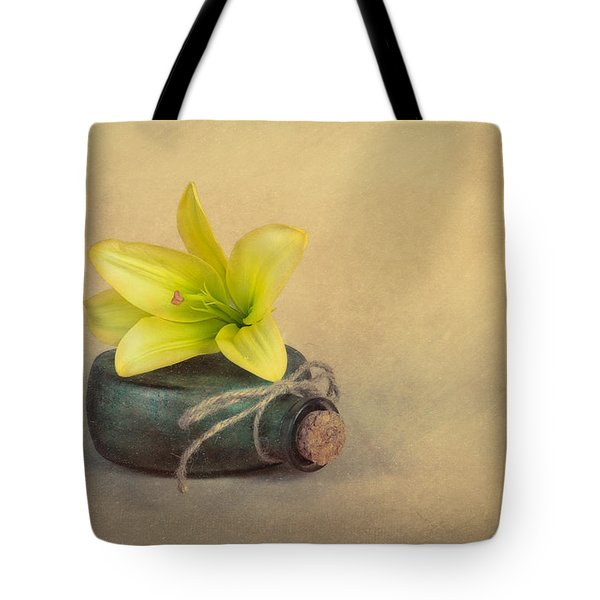 Yellow Lily And Green Bottle Tote Bag