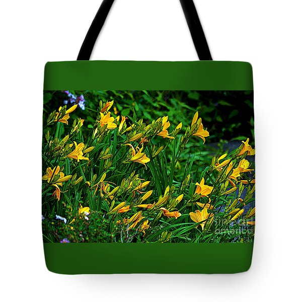 Tote Bag featuring the photograph Yellow Lily Flowers by Susanne Van Hulst